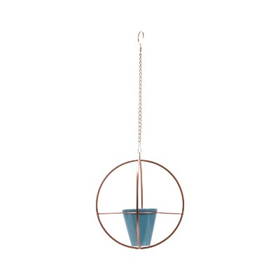 Copper Hanging Planter with Ceramic Pot - Foreside Home & Garden