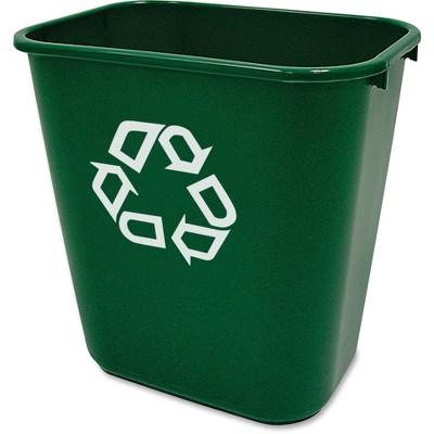 """Rubbermaid Commercial Deskside Recycling Bin 10-1/4""""x14-2/5""""x15"""" Green 295606GN"""