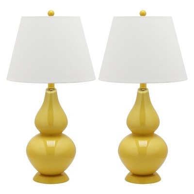 "(Set of 2) 26"" Cybil Double Gourd Lamp Yellow (Includes CFL Light Bulb) - Safavieh"