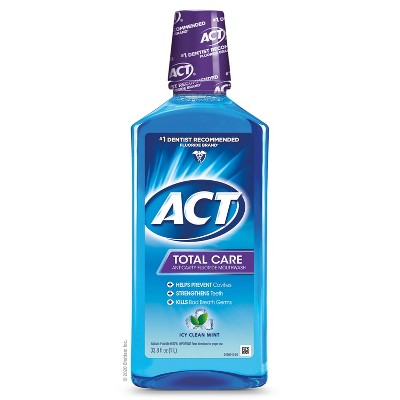 Act Total Care Anticavity Fluoride Mouthwash Icy Clean Mint - 33.8 fl oz