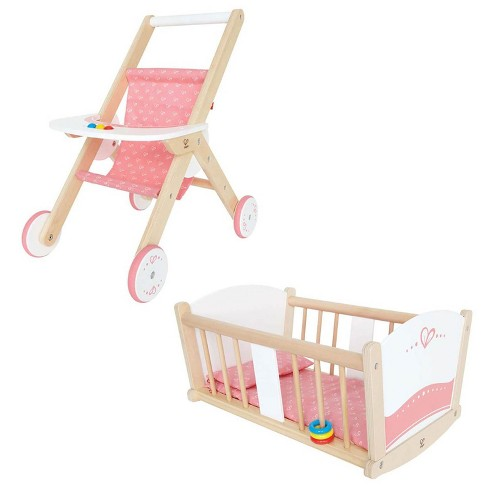 Hape Kids Wooden Pretend Play Baby Doll Stroller & Rock-A-Bye Cradle Crib Toys - image 1 of 4
