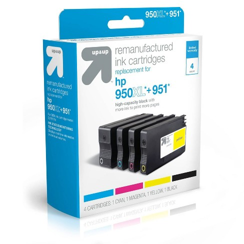 Remanufactured Black XL+Cyan/Magenta/Yellow Standard Ink Cartridges - Compatible with HP 950/951 Ink Series Printers  - TAR950XLB - up & up™ - image 1 of 2