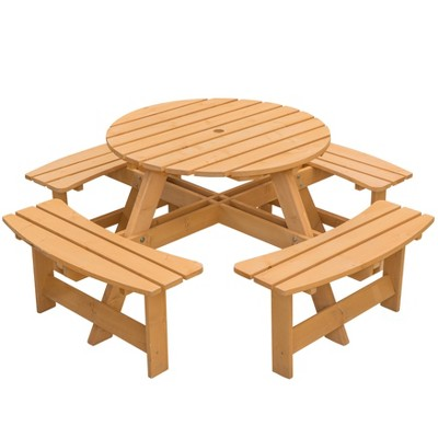 Gardenised Wooden Outdoor Patio Garden Round Picnic Table with Bench, 8 Person