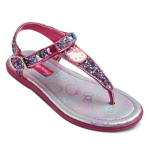 d0e9f541838051 Toddler Girls  Hello Kitty Shimmer Thong Sandals - Pink 1   Target