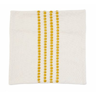 """20""""x20"""" Wanda Yarn Stitched Woven Cotton Pillow Shell Yellow - Décor Therapy"""