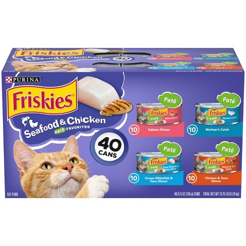 Purina Friskies Pat Seafood & Chicken Favorites Wet Cat Food - 5.5oz/40ct Variety Pack - image 1 of 4