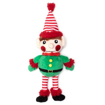 The Worthy Dog Buffalo Elf Toy - Red/Green - One Size