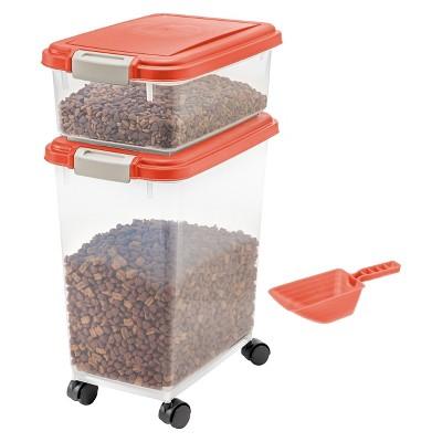 IRIS 3pc Airtight Pet Food Storage Set, Coral