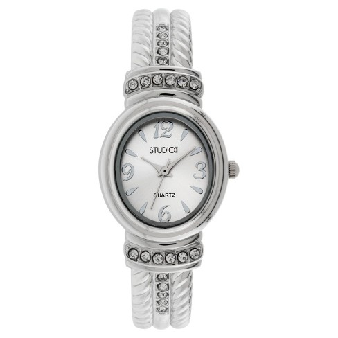 Women's Studio Time® Bangle Watch - Light Silver - image 1 of 1