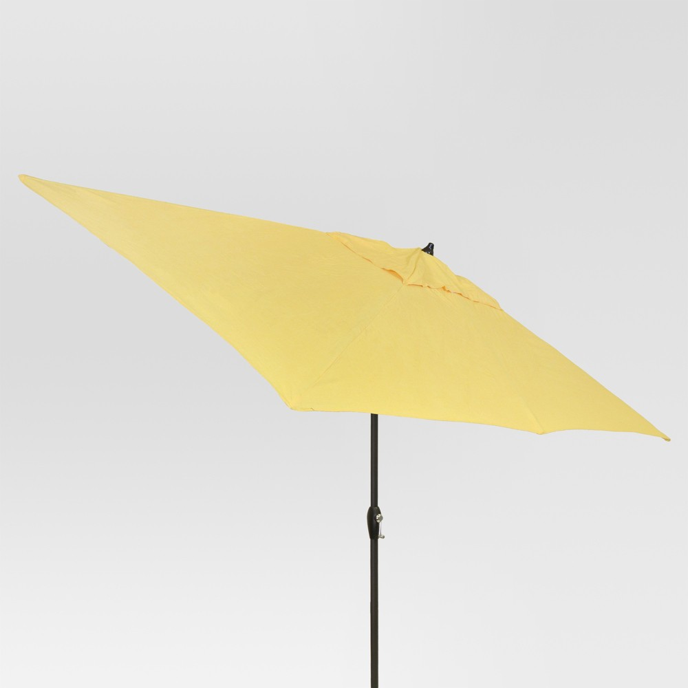 6.5' x 10' Rectangular Patio Umbrella Yellow - Black Pole - Threshold