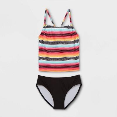 Girls' Striped Tankini Set - art class™