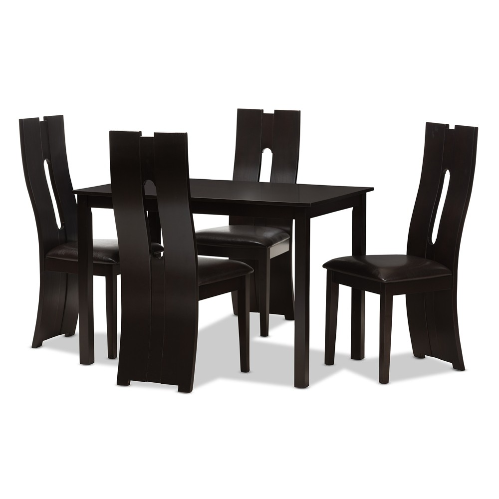 Alani Modern And Contemporary Faux Leather Upholstered 5pc Dining Set Dark Brown - Baxton Studio