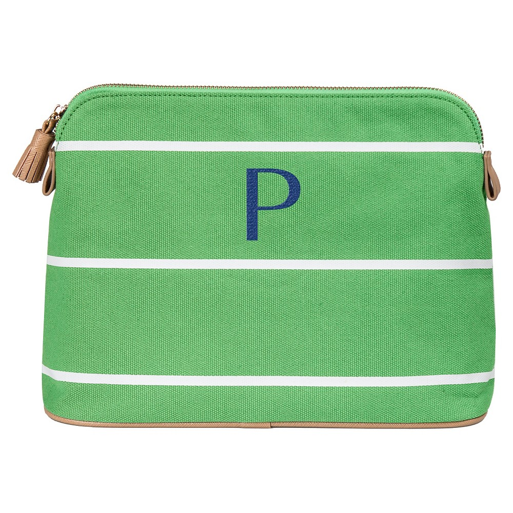Personalized Green Striped Cosmetic Bag - P