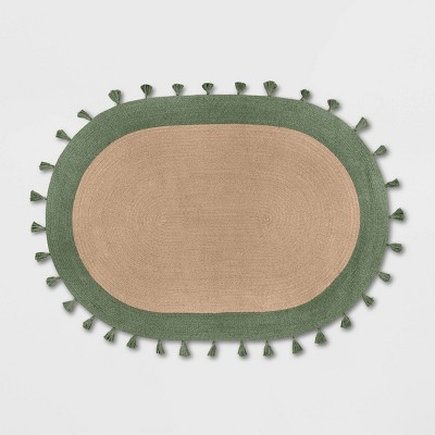 4'x6' Oval Braided Border Rug Green - Pillowfort™