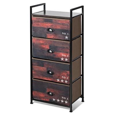 Costway 4 Drawer Fabric Dresser Storage Tower Nightstand Sturdy Steel Frame Closet