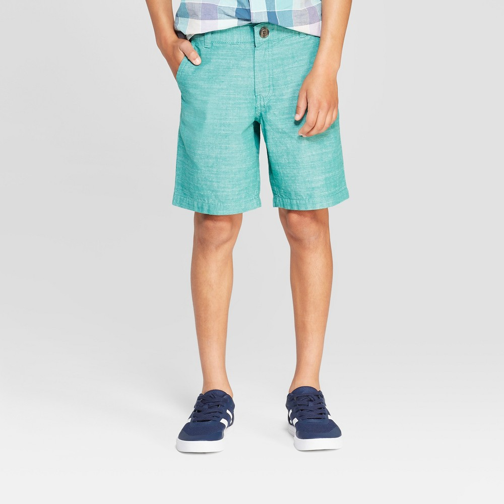 Boys' Chambray Chino Shorts - Cat & Jack Dark Green 4