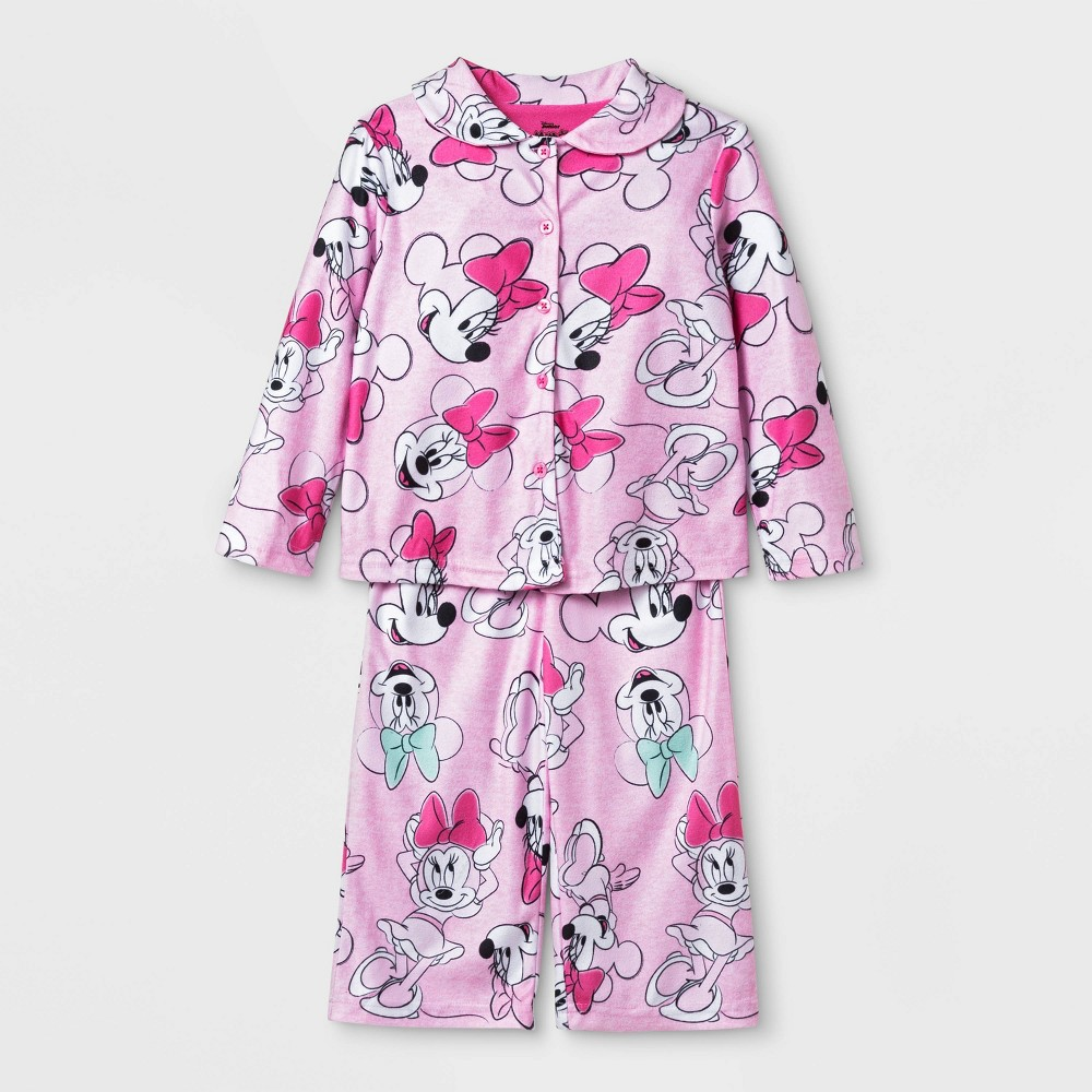 Image of Baby Girls' Minnie Mouse Coat Pajama Set - Pink 12M, Girl's