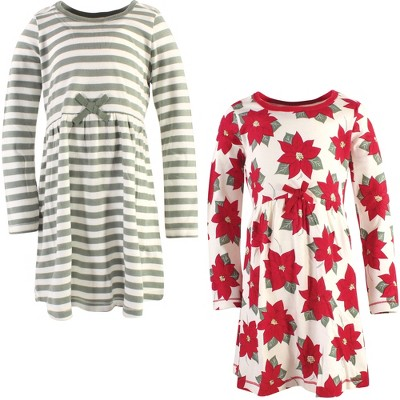 Touched by Nature Big Girls and Youth Organic Cotton Long-Sleeve Dresses 2pk, Poinsettia