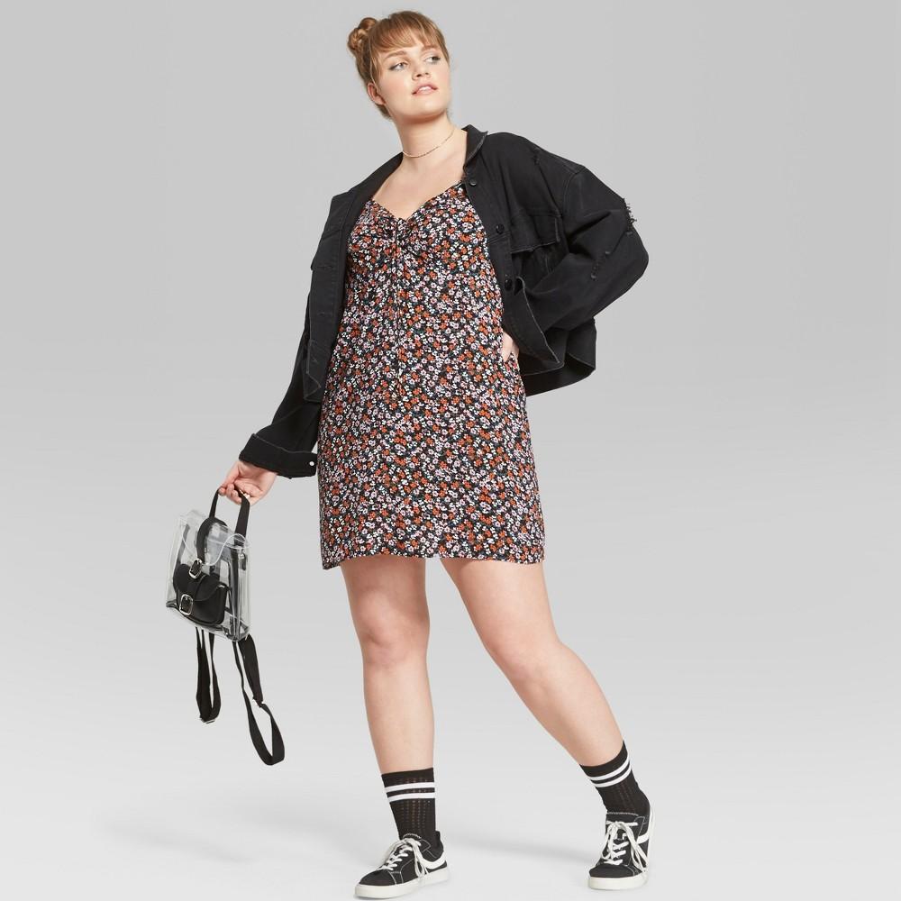 Women's Plus Size Floral Print Tie Front Puff Sleeve Dress - Wild Fable Black 2X