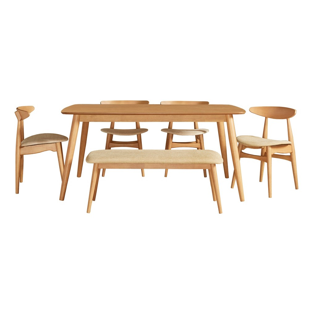 Cortland Danish Modern Natural 6-Piece 60 Dining Set - Natural - Inspire Q