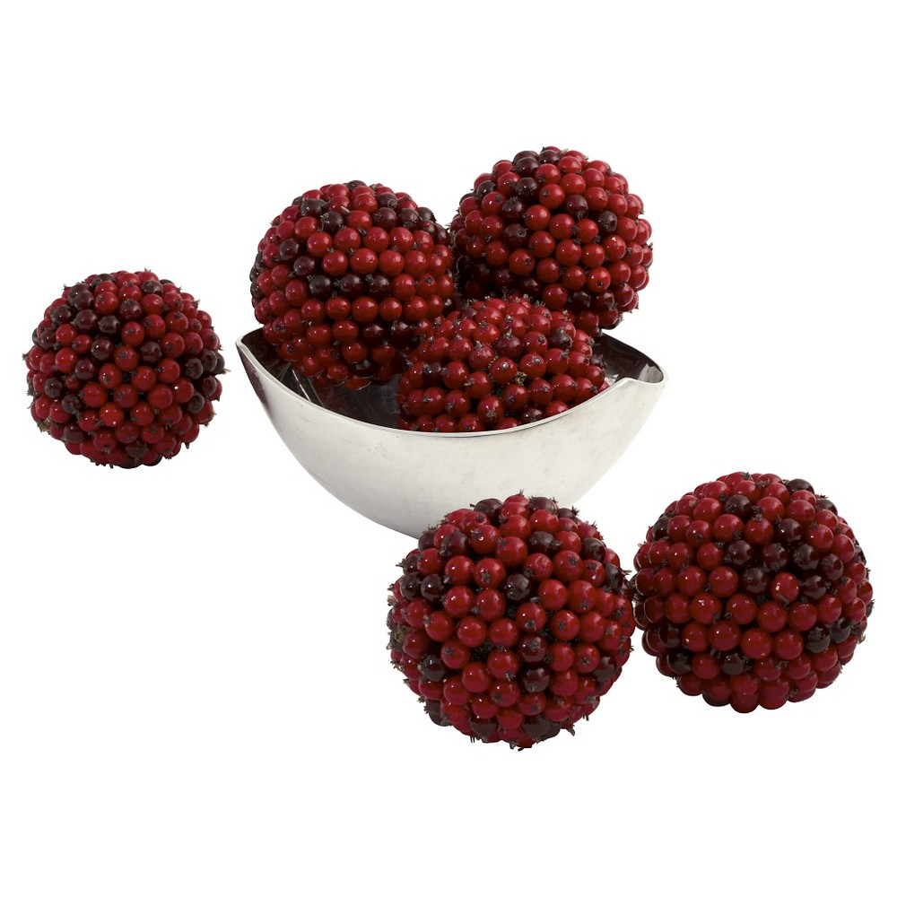 """Image of """"Nearly Natural set of 6 Red Berry Ball Red (5"""""""")"""""""