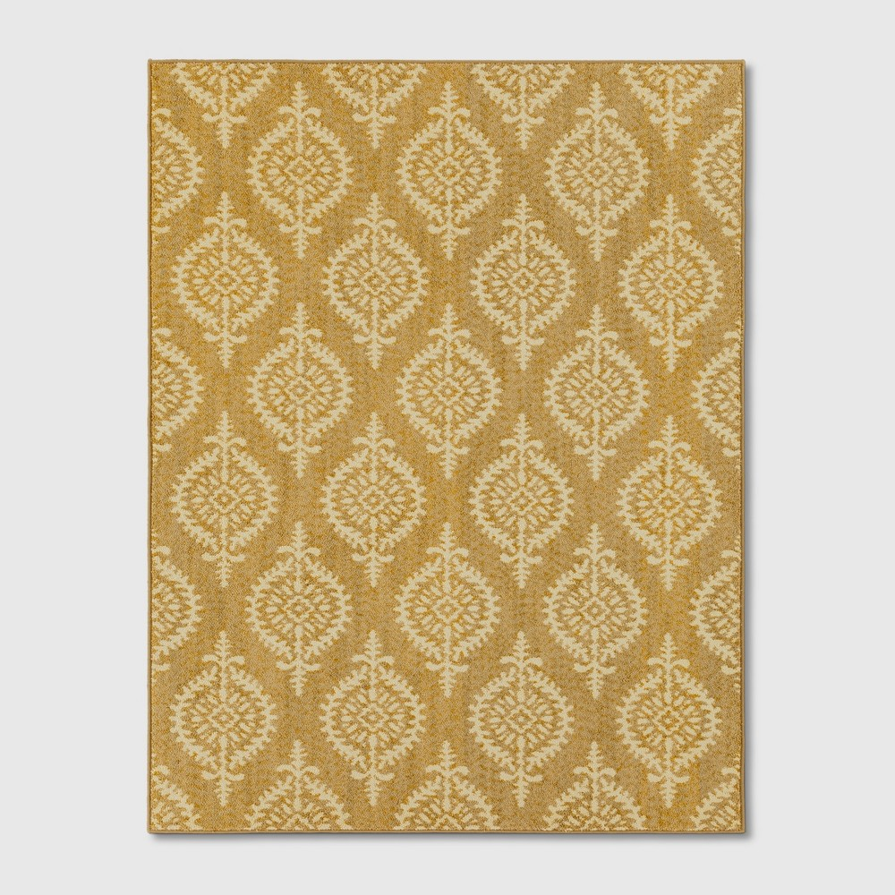 Paisley Tufted Area Rugs Gold
