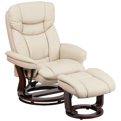 Flash Furniture Contemporary Multi-Position Recliner and Curved Ottoman with Swivel Mahogany Wood Base