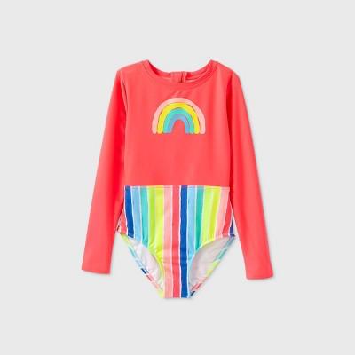 Girls' Long Sleeve Rainbow Striped One Piece Swimsuit - Cat & Jack™