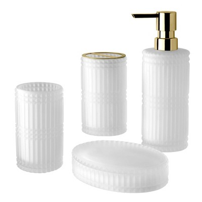 4pc Devon Lotion Pump/Toothbrush Holder/Tumbler/Soap Dish Set White - Allure Home Creations