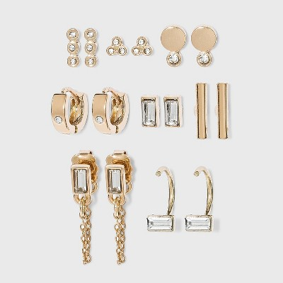 Crystal Glass Stud and Small Hoop Earring Set 8pc - A New Day™ Gold