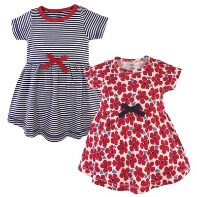 Touched by Nature Baby and Toddler Girl Organic Cotton Short-Sleeve Dresses 2pk, Red Flowers