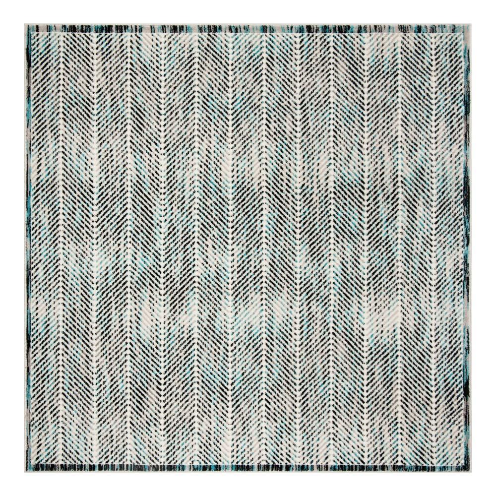 Gray/Blue Herringbone Loomed Square Area Rug 6'7