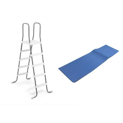 Intex Steel Frame Above Ground Pool Ladder + Protective Swimming Pool Ladder Mat
