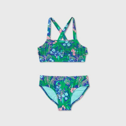 Girls' Tropical Floral Fringe Bikini Set - Cat & Jack™ Green - image 1 of 2