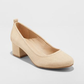 Women's Lenora Microsuede Closed Toe Heeled Pumps - Universal Thread™ Taupe 8