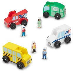 Melissa & Doug Community Vehicles Play Set - Classic Wooden Toy With 4 Vehicles and 4 Play Figures