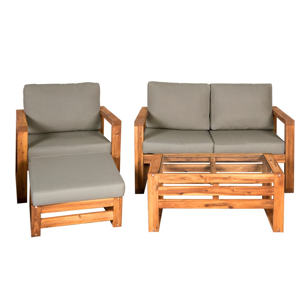 4pc Hudson Open Side Outdoor Patio Chat Set - Saracina Home, Brown
