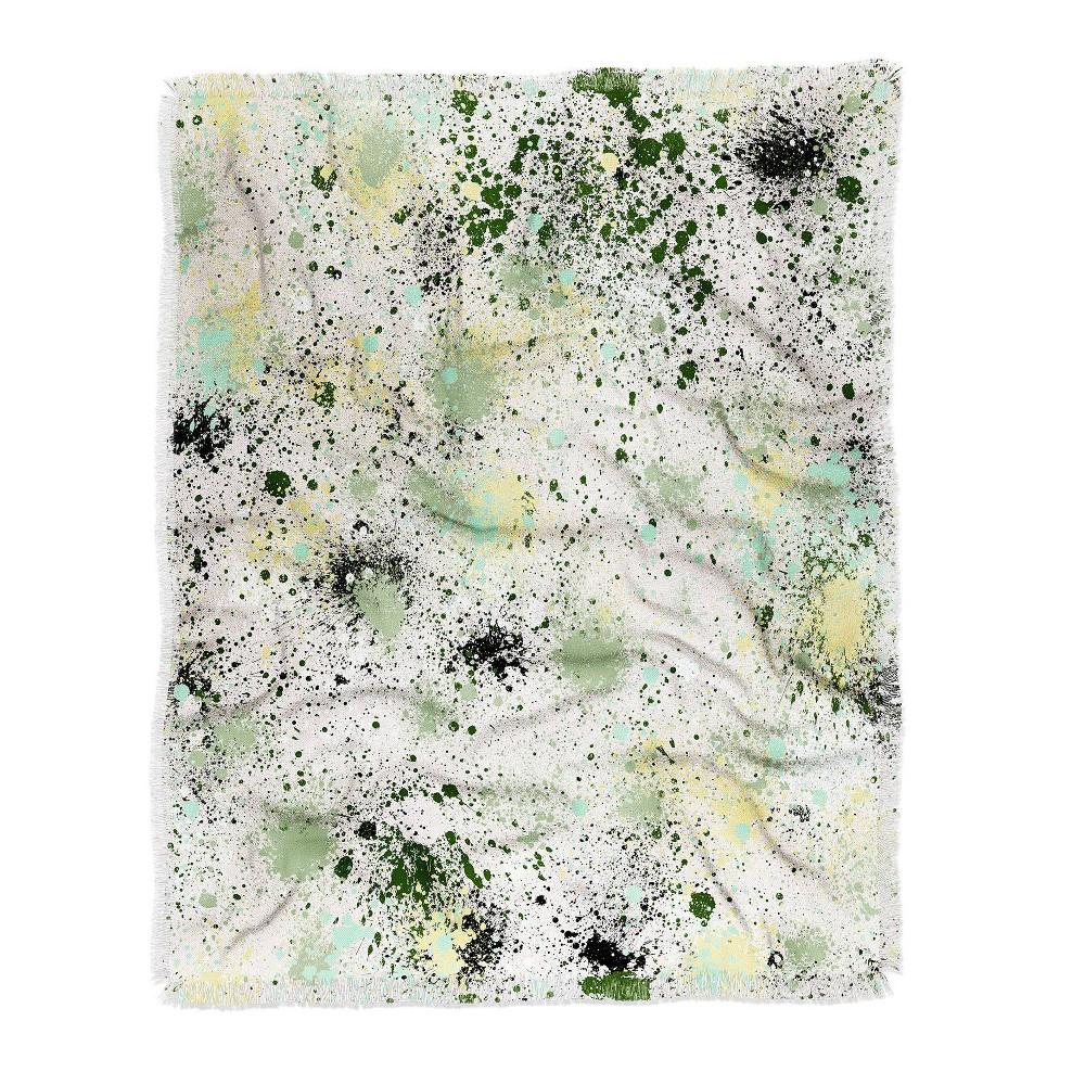 Ninola Design Ink Splatter Lime Banana Woven Throw Blanket Green Deny Designs