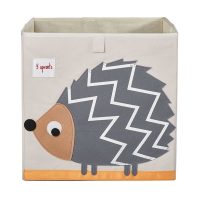 3 Sprouts Large 13 Inch Square Children's Foldable Fabric Storage Cube Organizer Box Soft Toy Bin, Pet Hedgehog