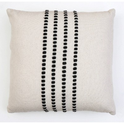 "20""X20"" Wanda Yarn Stitch Woven Cotton Pillow Black - Decor Therapy"