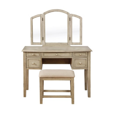 Sophie Vanity and Stool White Wash - Powell Company - image 1 of 4