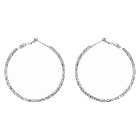 Hoop Earrings Sterling Textured 40 MM Round - Silver - image 1 of 1