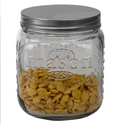 Home Basics 90 oz. Medium Mason Glass Canister, Clear
