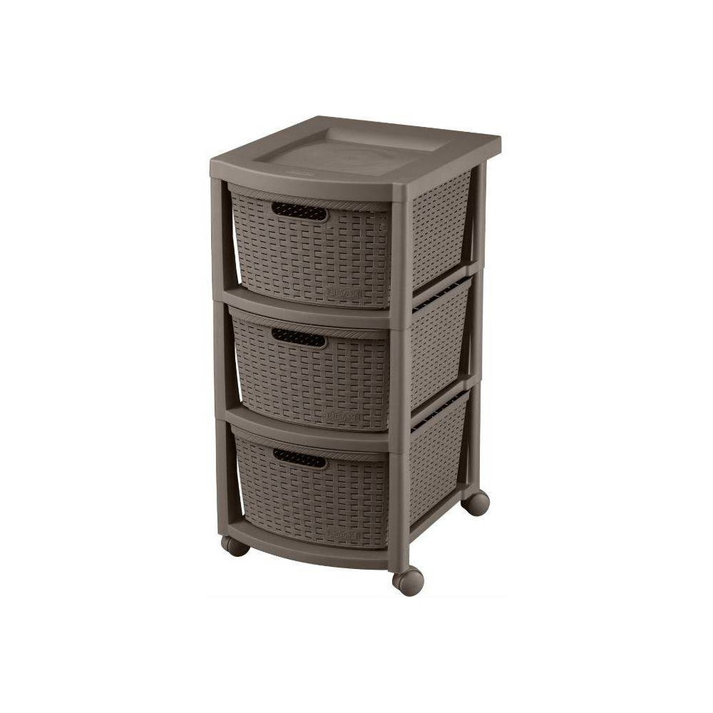 Image of 3 Drawer Rolling Cart Wengue - Inval, Brown