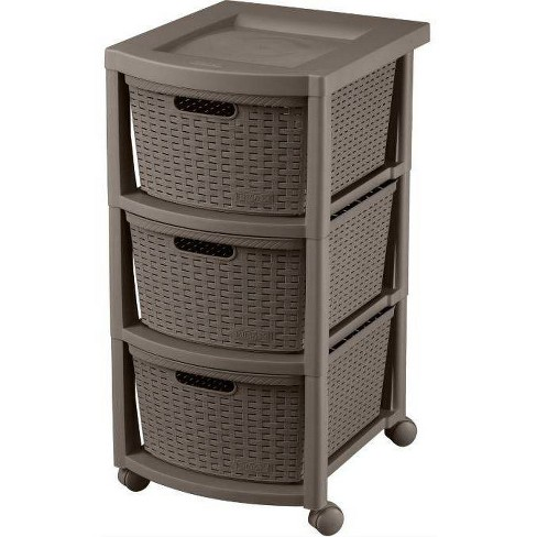 3 Drawer Rolling Cart Wengue - Inval - image 1 of 2