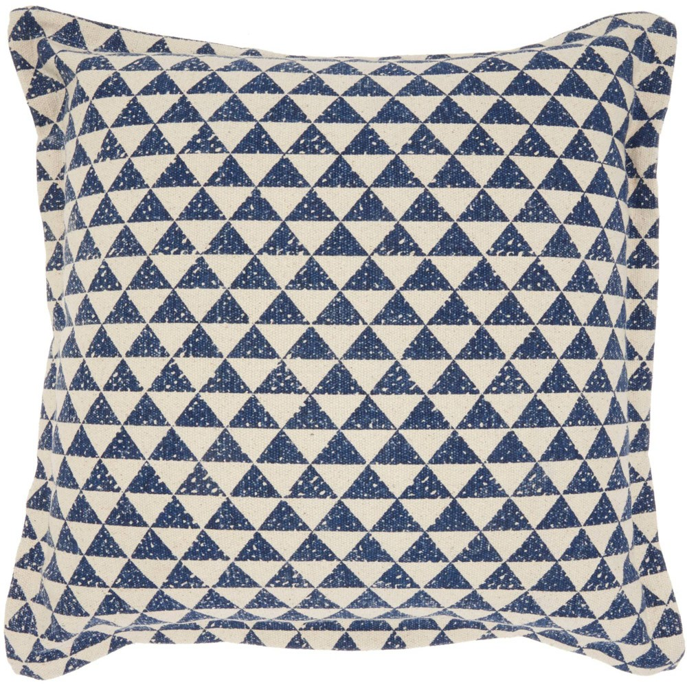 Image of Life Styles Printed Triangles Oversize Square Throw Pillow Indigo - Nourison