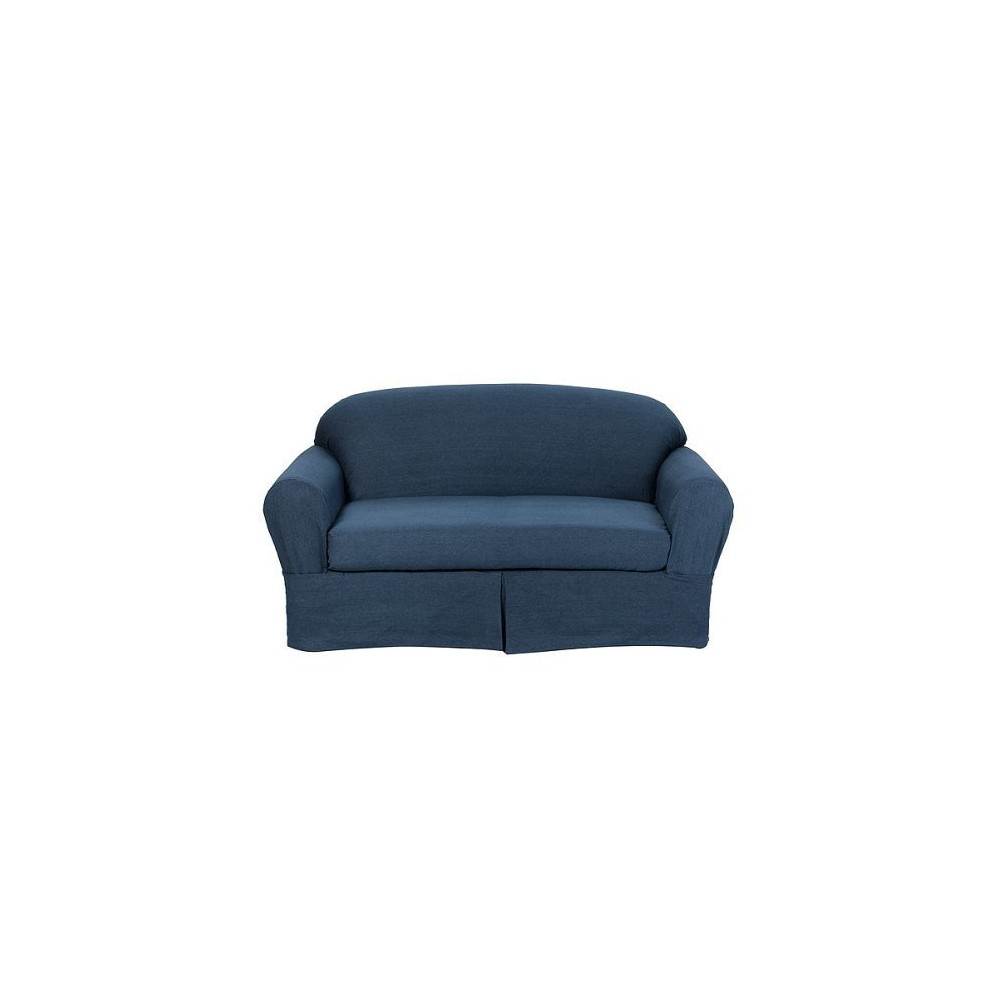 Pleasant 2Pc Indigo Blue Casual Home Twill Loveseat Slipcover Target Home Gamerscity Chair Design For Home Gamerscityorg