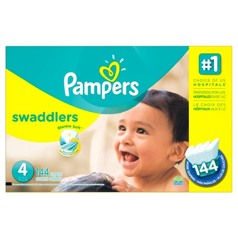Pampers Swaddlers Diapers Economy Plus Pack Size 4 (144 ct) - image 1 of 4