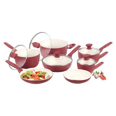 GreenPan Rio 12pc Ceramic Nonstick Cookware Set Red