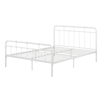 Queen Versa Metal Platform Bed Pure White - South Shore